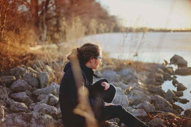 adult alone autumn blur